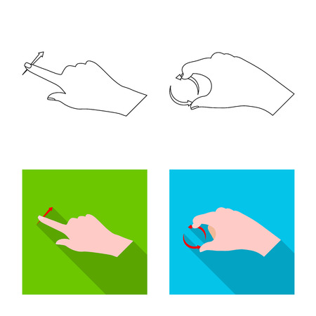 Isolated object of touchscreen and hand logo. Collection of touchscreen and touch vector icon for stock.