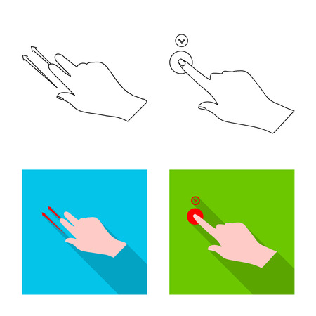Vector design of touchscreen and hand icon. Collection of touchscreen and touch stock vector illustration.