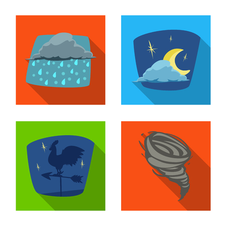 Isolated object of weather and climate symbol. Collection of weather and cloud vector icon for stock.