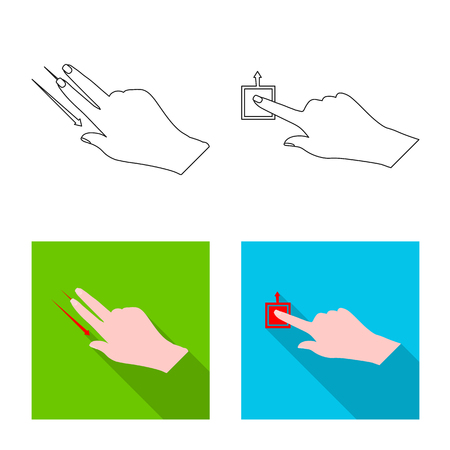 Vector design of touchscreen and hand icon. Collection of touchscreen and touch stock symbol for web. Illustration