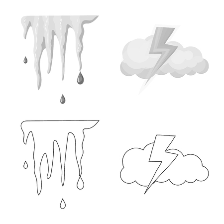 Isolated object of weather and climate icon. Collection of weather and cloud vector icon for stock.
