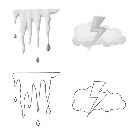 Oggetto isolato dell'icona del tempo e del clima. Raccolta di icone vettoriali meteo e cloud per stock.