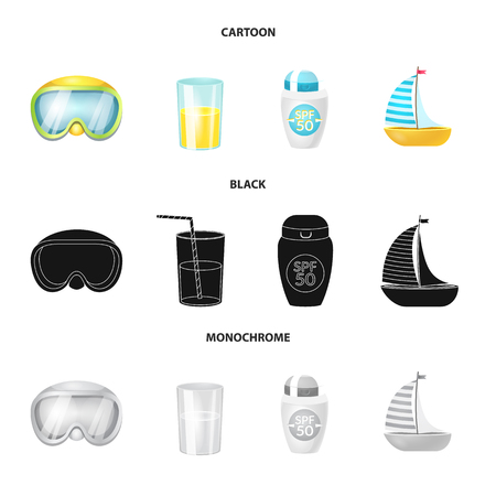 Vector illustration of equipment and swimming symbol. Set of equipment and activity vector icon for stock.