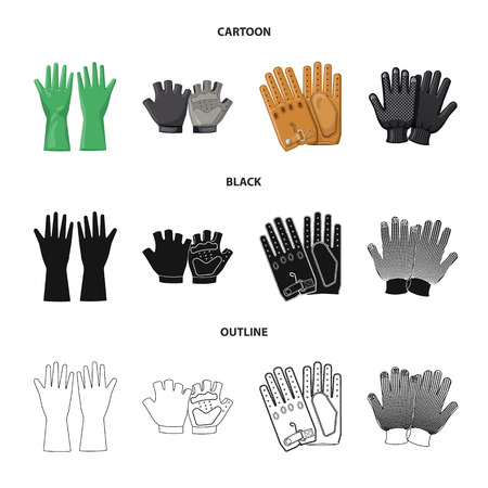 Vector illustration of glove and winter icon. Set of glove and equipment stock vector illustration. Illustration