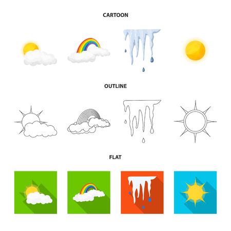 Oggetto isolato del segno del tempo e del clima. Raccolta di icone vettoriali meteo e cloud per stock. Vettoriali