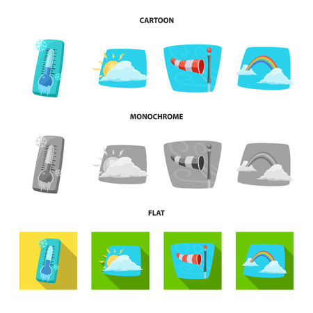 Vector design of weather and climate logo. Collection of weather and cloud stock symbol for web.