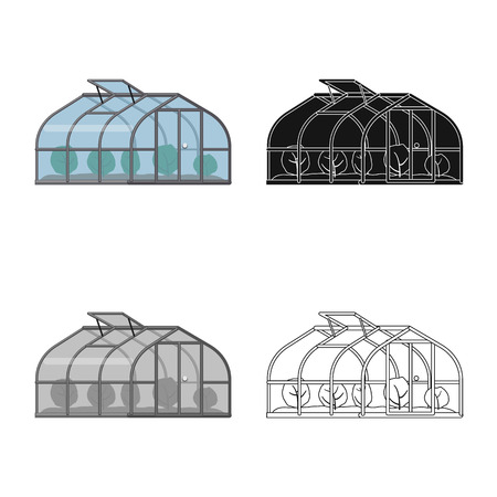 Vector design of greenhouse and plant logo. Collection of greenhouse and garden stock symbol for web. Illustration