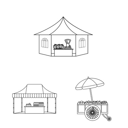 Vector illustration of market and exterior icon. Collection of market and food vector icon for stock. Stock Vector - 111093490