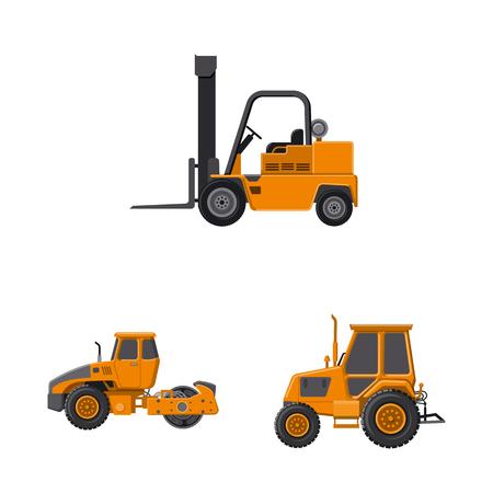 Objet isolé du logo de construction et de construction. Ensemble d'icônes vectorielles de construction et de machines pour le stock.