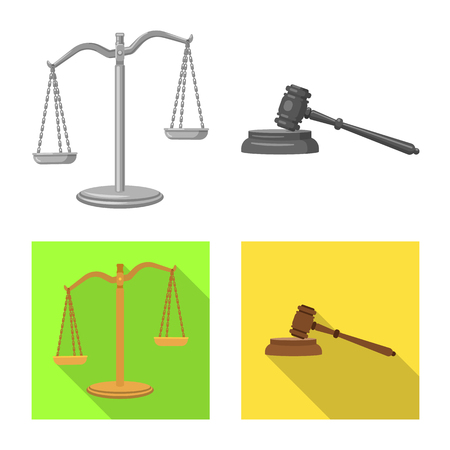 Isolated object of law and lawyer icon. Collection of law and justice vector icon for stock. Illustration