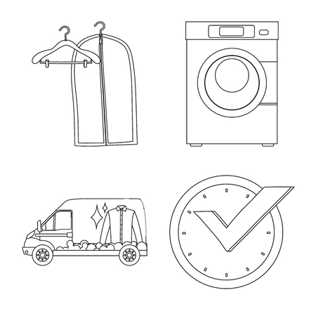 Vector illustration of laundry and clean logo. Collection of laundry and clothes stock vector illustration. Çizim