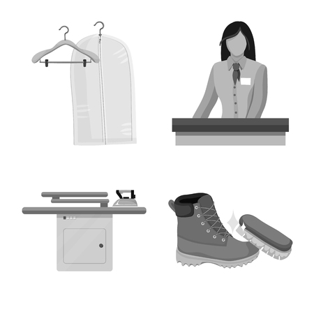 Isolated object of laundry and clean icon. Collection of laundry and clothes stock vector illustration.