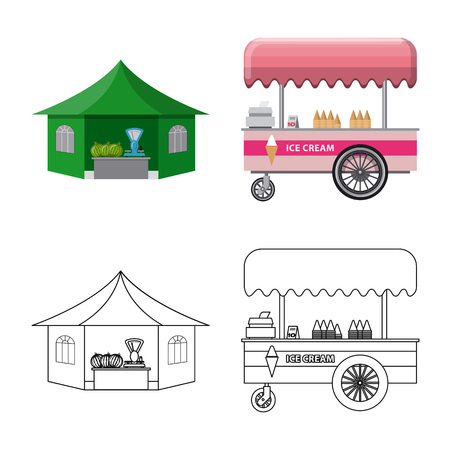 Vector illustration of market and exterior symbol. Set of market and food stock vector illustration. Vector Illustration