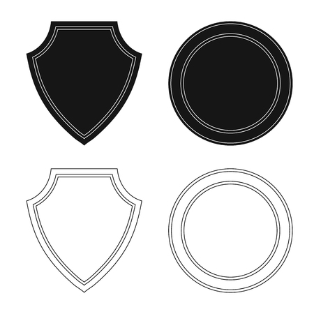 Vector design of emblem and badge sign. Set of emblem and sticker vector icon for stock. Stockfoto - 111092831