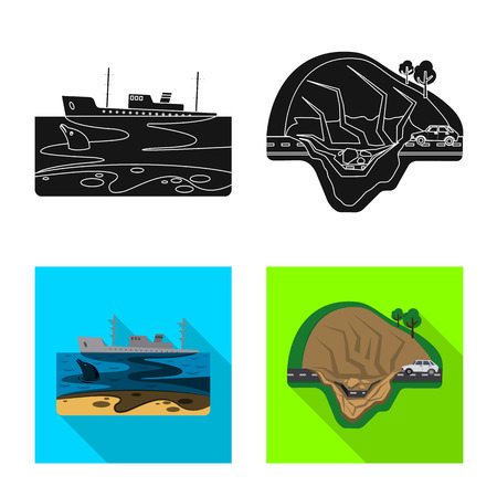 Isolated object of natural and disaster icon. Set of natural and risk stock symbol for web.