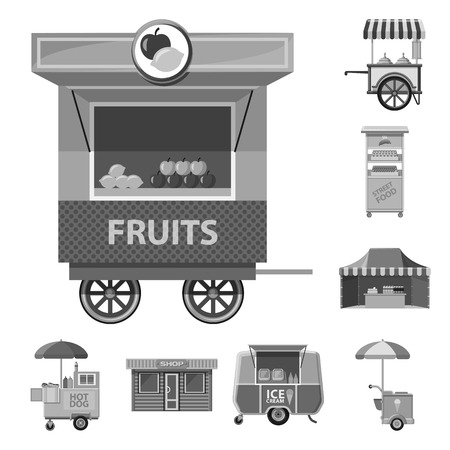 Vector illustration of market and exterior logo. Collection of market and food stock symbol for web.