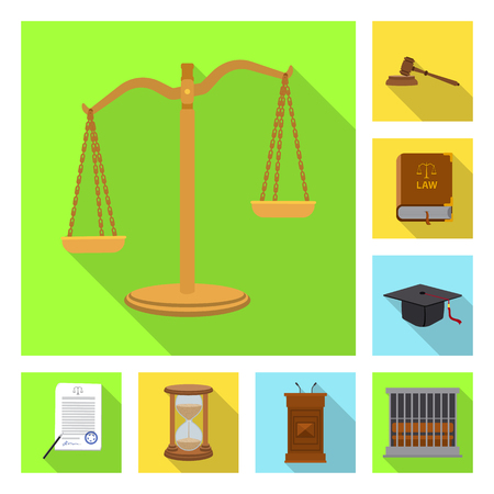 Vector illustration of law and lawyer sign. Collection of law and justice vector icon for stock.