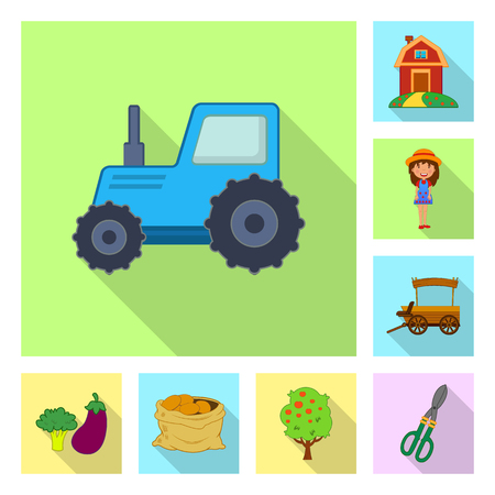 Vector illustration of farm and agriculture sign. Collection of farm and plant stock vector illustration.