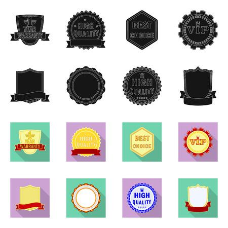 Vector ontwerp van embleem en kenteken symbool. Set embleem en sticker aandelensymbool voor web.