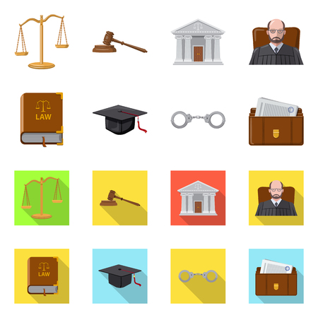 Vector illustration of law and lawyer icon. Set of law and justice stock vector illustration.