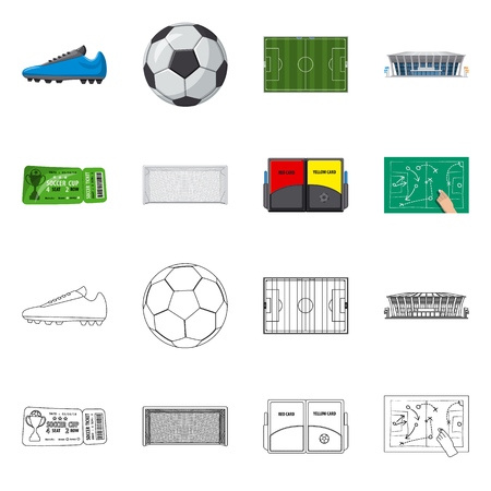 Vector design of soccer and gear symbol. Collection of soccer and tournament stock vector illustration.
