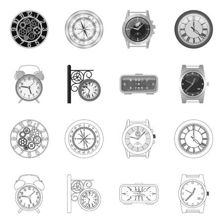 Diseño vectorial de reloj y logotipo de tiempo. Conjunto de símbolo de stock de reloj y círculo para web. Logos