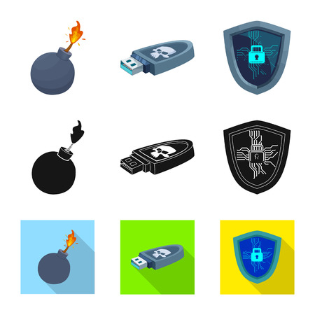 Vector illustration of virus and secure icon. Collection of virus and cyber stock vector illustration.