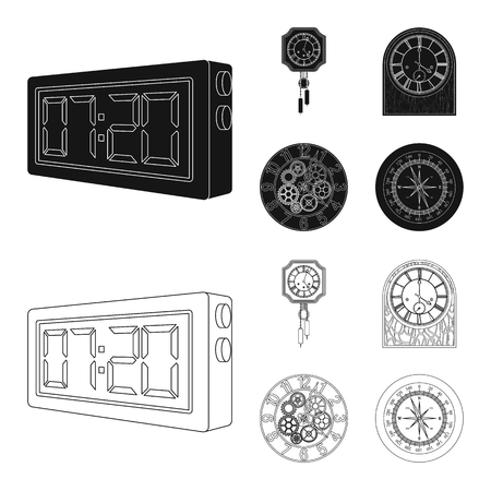 Vector illustration of clock and time icon. Set of clock and circle vector icon for stock.