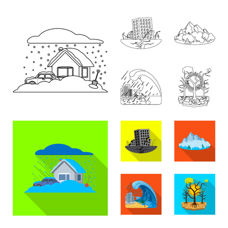 Vector illustration of natural and disaster logo. Collection of natural and risk stock symbol for web. Illustration