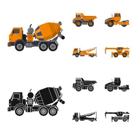 Illustration vectorielle de signe de construction et de construction. Collection de symbole boursier de construction et de machines pour le web.
