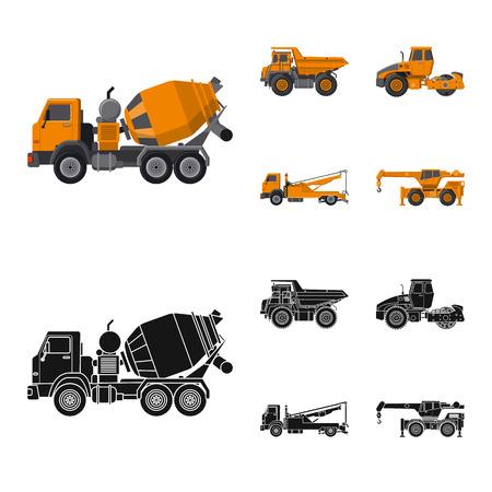 Vektorillustration des Bau- und Konstruktionszeichens. Sammlung von Bau- und Maschinenbestandsymbol für Web.