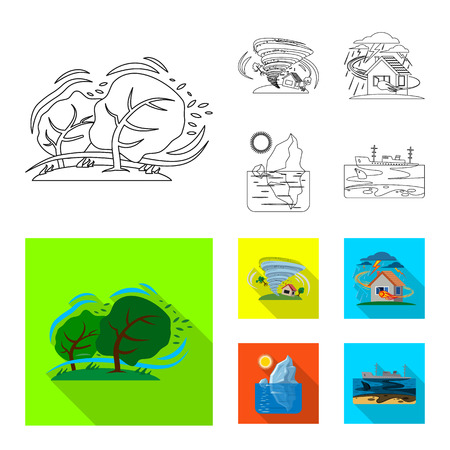 Isolated object of natural and disaster sign. Set of natural and risk stock vector illustration. Illustration