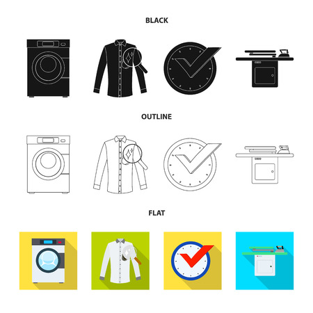 Vector design of laundry and clean symbol. Collection of laundry and clothes vector icon for stock.