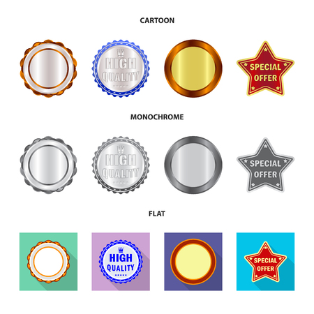 Vector illustration of emblem and badge sign. Set of emblem and sticker vector icon for stock. Stock Illustratie