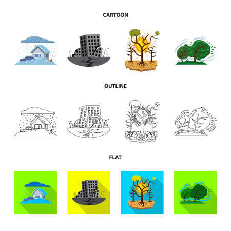 Vector illustration of natural and disaster icon. Set of natural and risk stock vector illustration. Illustration