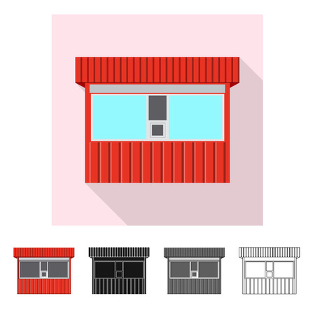 Vector illustration of market and exterior icon. Collection of market and food stock symbol for web. Illustration