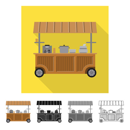 Isolated object of market and exterior icon. Set of market and food stock vector illustration.