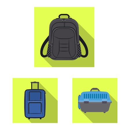 Vector design of suitcase and baggage icon. Collection of suitcase and journey stock symbol for web. Vettoriali