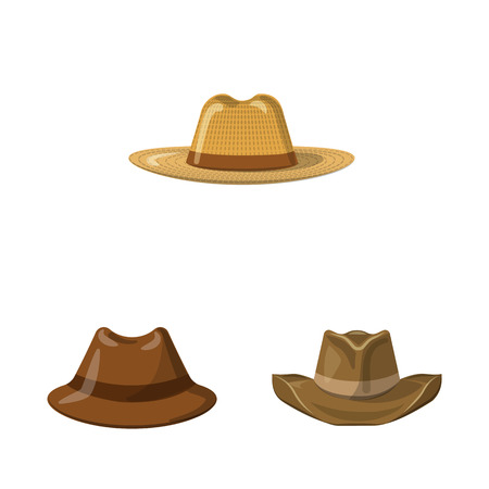 Vektorillustration von Kopfbedeckung und Kappensymbol. Sammlung von Kopfbedeckungen und Zubehörvektorikonen für Lager.