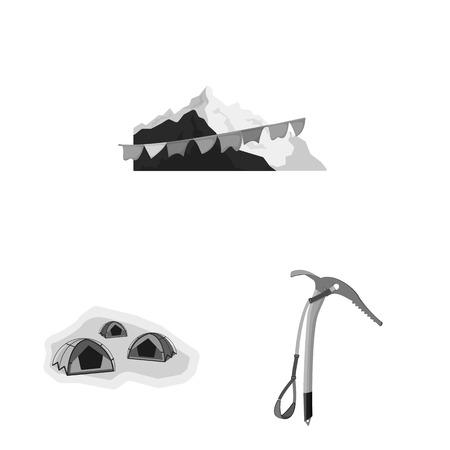 Vector design of mountaineering and peak symbol. Set of mountaineering and camp stock vector illustration. 矢量图像