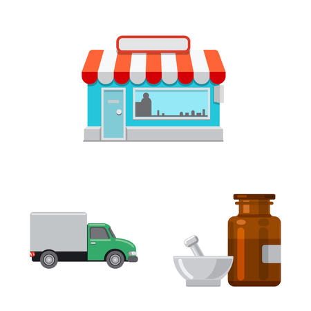Isolated object of pharmacy and hospital symbol. Collection of pharmacy and business vector icon for stock. 向量圖像