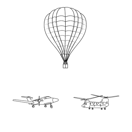 Vector design of plane and transport logo. Collection of plane and sky stock vector illustration.