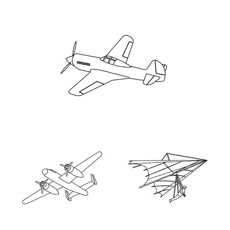 Isolated object of plane and transport logo. Set of plane and sky stock vector illustration.