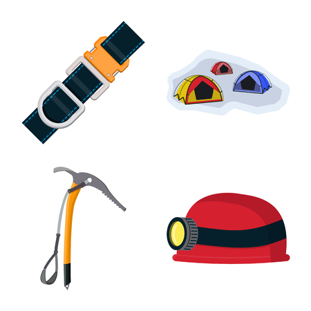 Vector illustration of mountaineering and peak symbol. Collection of mountaineering and camp stock symbol for web. 矢量图像