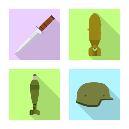 Isolated object of weapon and gun symbol. Collection of weapon and army stock vector illustration.