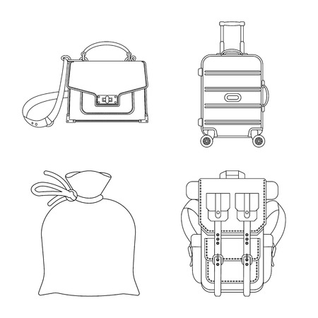 Vector design of suitcase and baggage symbol. Set of suitcase and journey stock vector illustration.