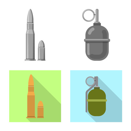 Isolated object of weapon and gun icon. Set of weapon and army stock vector illustration. 版權商用圖片 - 111219658