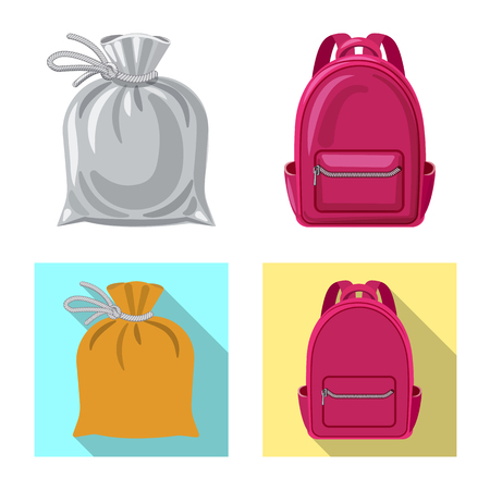 Isolated object of suitcase and baggage sign. Set of suitcase and journey vector icon for stock.