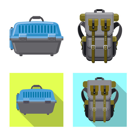 Vector illustration of suitcase and baggage symbol. Collection of suitcase and journey stock symbol for web. Vettoriali