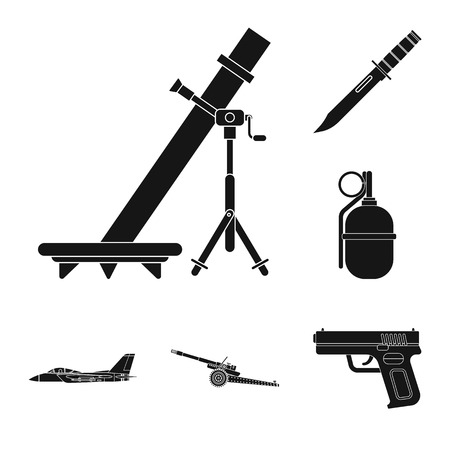 Vector design of weapon and gun sign. Set of weapon and army stock symbol for web.